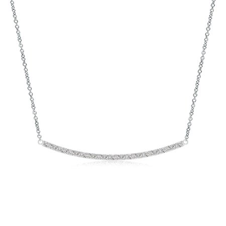 Valentine Jewelry gift - Classic Diamond Curved Bar Necklace in 14K White Gold (1.1mm Diamond) - -