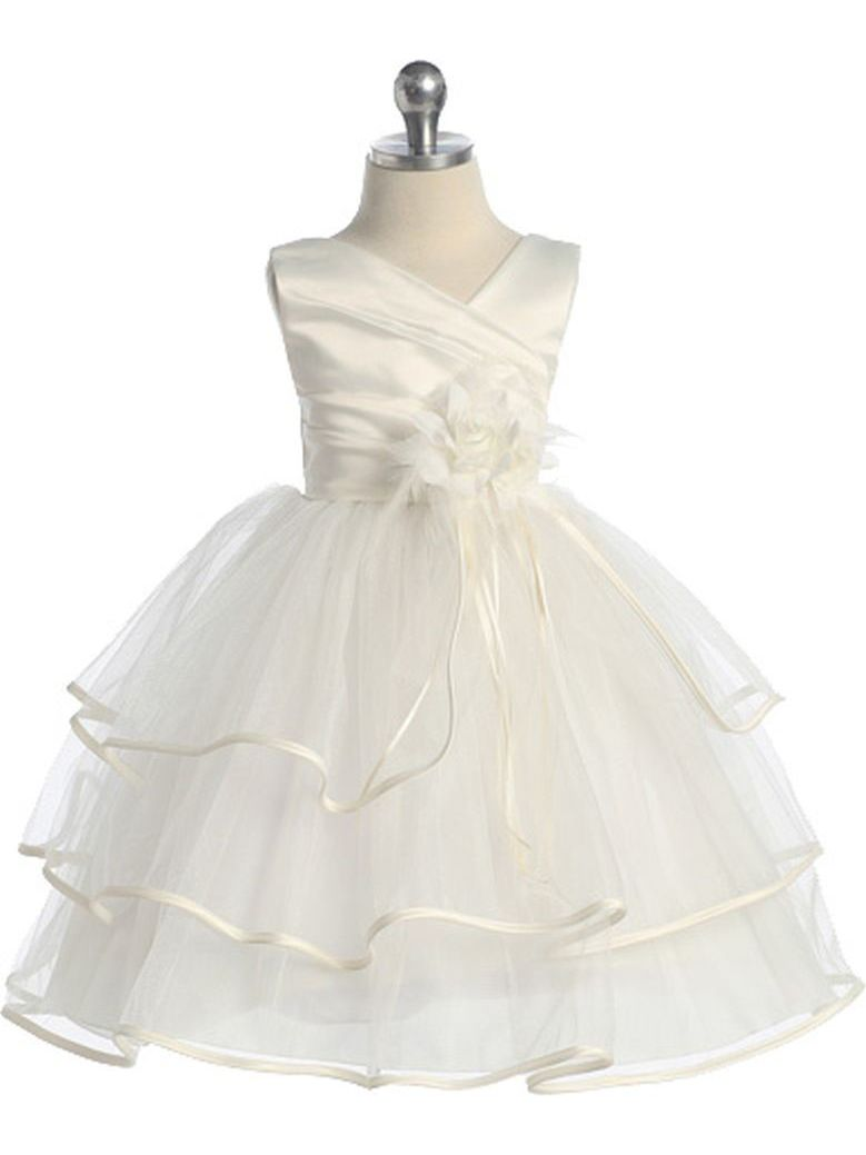 Chic Baby Girls Ivory Taffeta Layered Pageant Easter Dress 2T-14