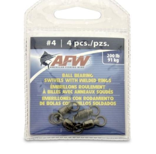 American Fishing Wire Black Ball Bearing Swivels (4 Pieces), Size 4, 200 Pound Test Multi-Colored