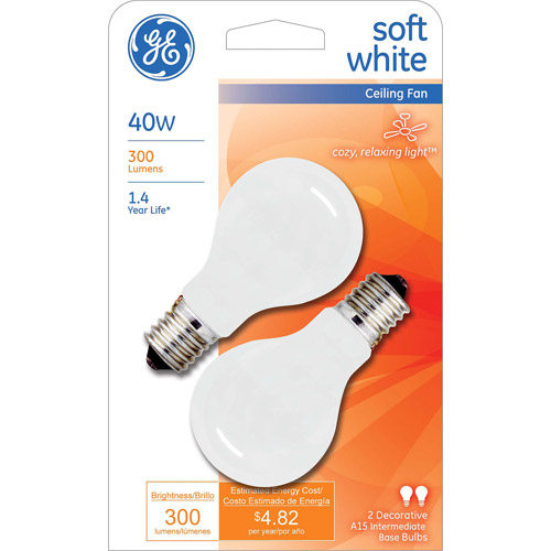 GE INCANDESCENT 40W SOFT WHITE INTERMEDIATE BASE A15 CEILING FAN 2-COUNT