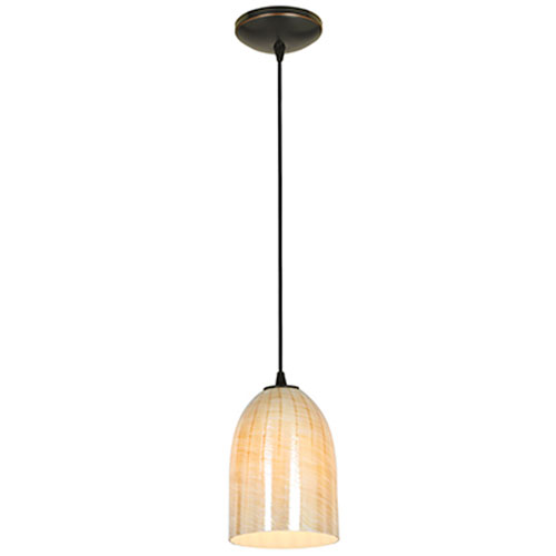 Access Lighting Bordeaux Bronze Fluorescent Cord Pendant with Wicker Amber Shade by Access Lighting