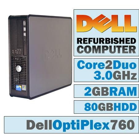 REFURBISHED Dell OptiPlex 760 SFF/Core 2 Duo E8400 @ 3.00 GHz/2GB DDR2/80GB HDD/DVD-RW/WINDOWS 10 HOME 64
