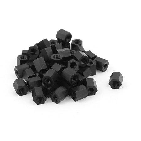 M3x6mm Female Thread Nylon Hex Standoff Spacer PCB Pillar Screw Nut Black 50pcs - image 2 of 2