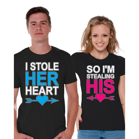 Awkward Styles I Stole Her Heart So I'm Stealing His T shirt for Couples Funny Valentines Day Couple Shirts Anniversary Gifts for Couples Boyfriend and Girlfriend Cute Matching Couple Shirts - His And Hers Funny