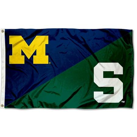 NCAA MSU Spartans vs. UM Wolverines House Divided 3x5 Flag