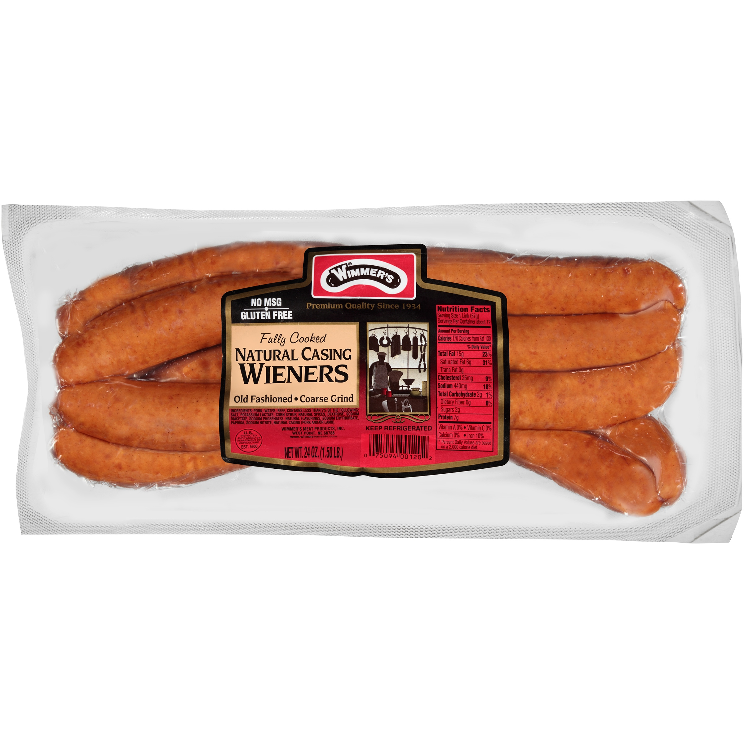 Wimmer's® Natural Casing Course Grind Wieners 12 ct Pack