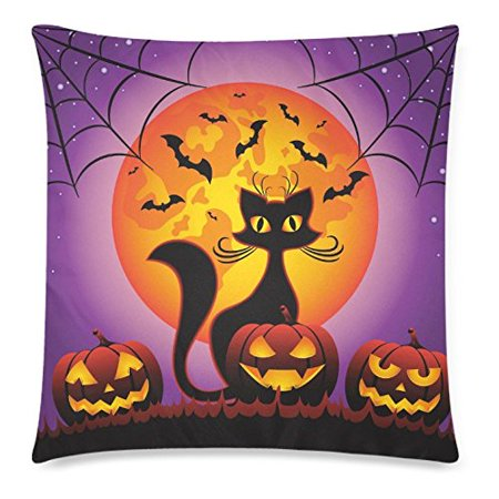 ZKGK Happy Halloween Home Decor, Cat and Halloween Pumpkins Full Moon Pillowcase 18 x 18 Inches,Purple Pillow Cover Case Shams Decorative - Last Full Moon On Halloween