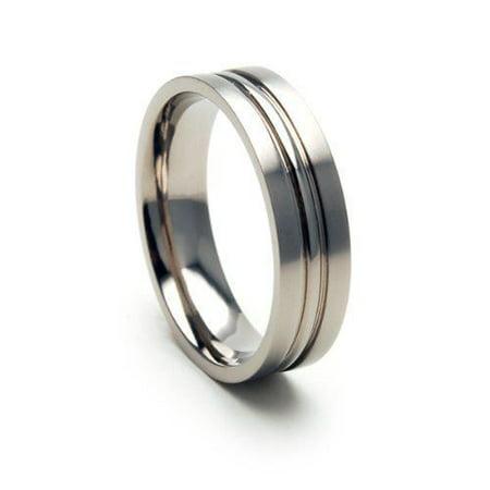 6F Titanium Ring with a Center Peak and a Brushed Finish (Titanium Center)