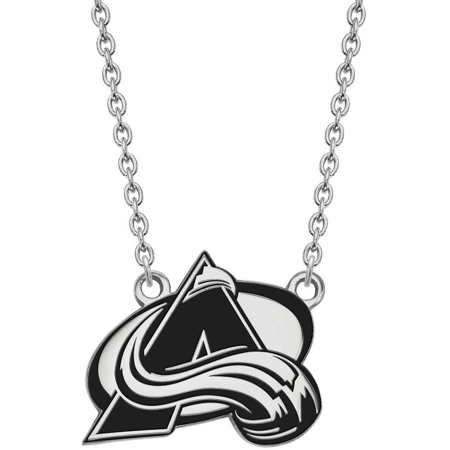 LogoArt NHL Colorado Avalanche Sterling Silver Large Enameled Pendant with Necklace