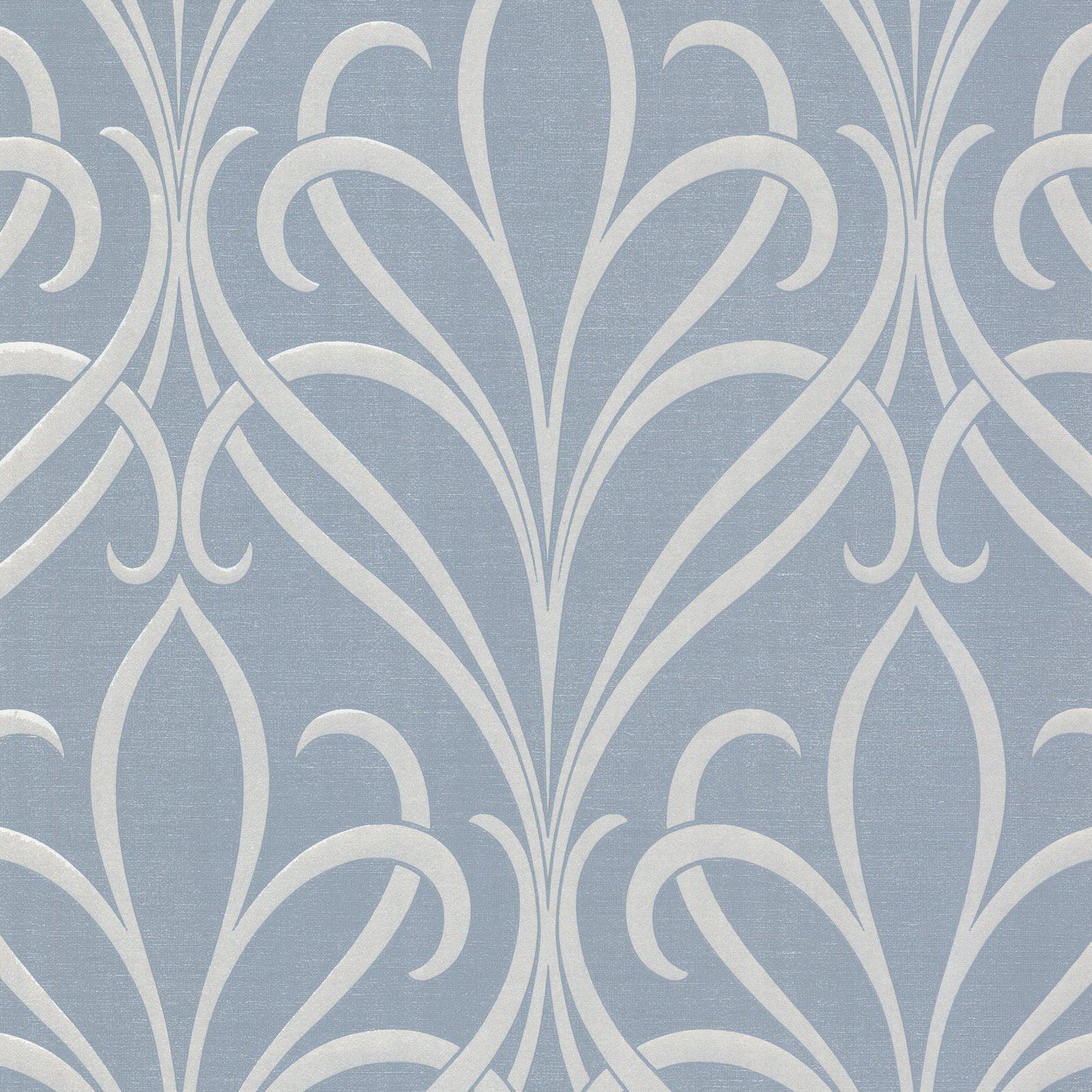 Decorline Lalique Blue Nouveau Damask Wallpaper
