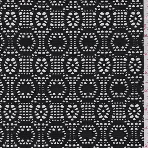 Black Circular Stretch Lace, Fabric By the Yard