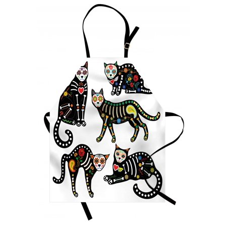 Sugar Skull Apron Calavera Inspired Ornate Black Cats Mexican Style Holiday the Day of the Dead, Unisex Kitchen Bib Apron with Adjustable Neck for Cooking Baking Gardening, Multicolor, by Ambesonne (Sugar Skull Cat)