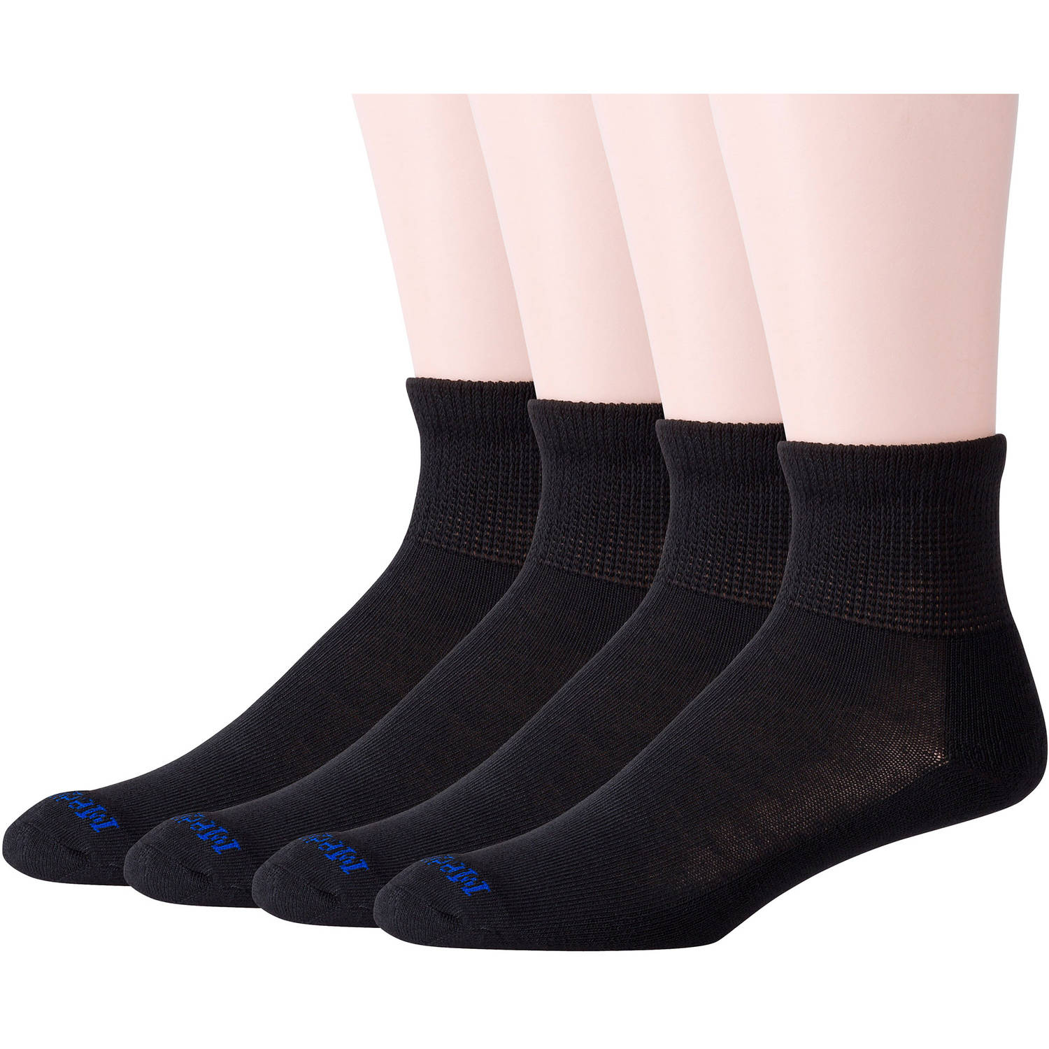 Men's Diabetic Quarter Socks with Coolmax and Non-Binding Top Value Pack, 4 Pairs