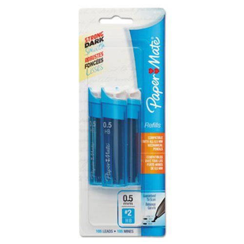 Paper Mate Lead Refills, 0.5mm, HB, Black, 3 Tubes of 35, 105/Pack (PAP66400PP)