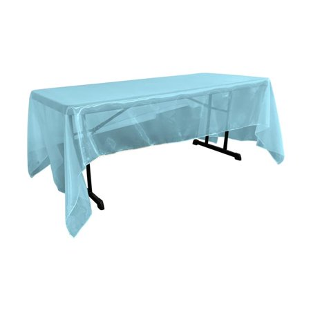 LA Linen TCOrgz60x144-TurquoiseO52 Sheer Mirror Organza Square Tablecloth, Turquoise - 60 x 144 -