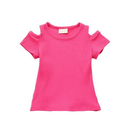 Baby Kids Girl Off-shoulder Shirt Toddler Short Sleeve Crop Tops Tee