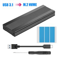 NVMe Enclosure PCIe M.2 SSD Case, Type-C USB 3.1 NVME Solid State Hard Disk Case,HDD Enclosure 10 Gbps Gen 2 USB 3.1 to M.2 Adapter with Case and USB C Cable M.2 PCIe SSD to Type C Enclosure