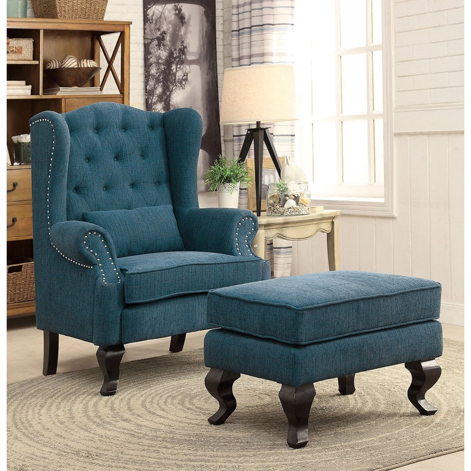 Furniture Of America Irving Traditional 2 Piece Wingback Armchair And  Ottoman Set By FOA   Walmart.com
