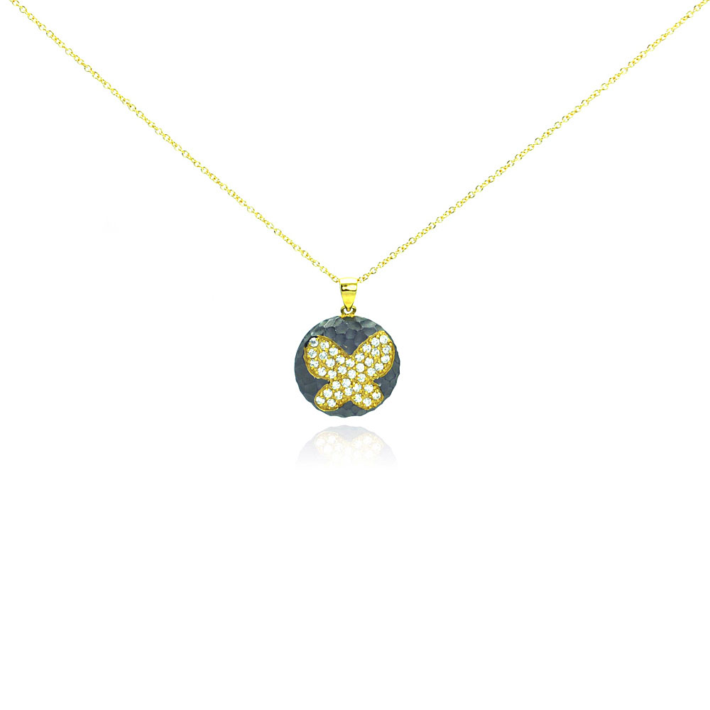 Sterling Silver Gold Plated Butterfly Clear CZ Round Hamm...