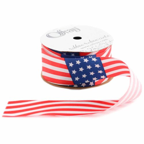 """Offray Wave Flag Ribbon, 1.5"""" x 9', Red/White/Blue"""