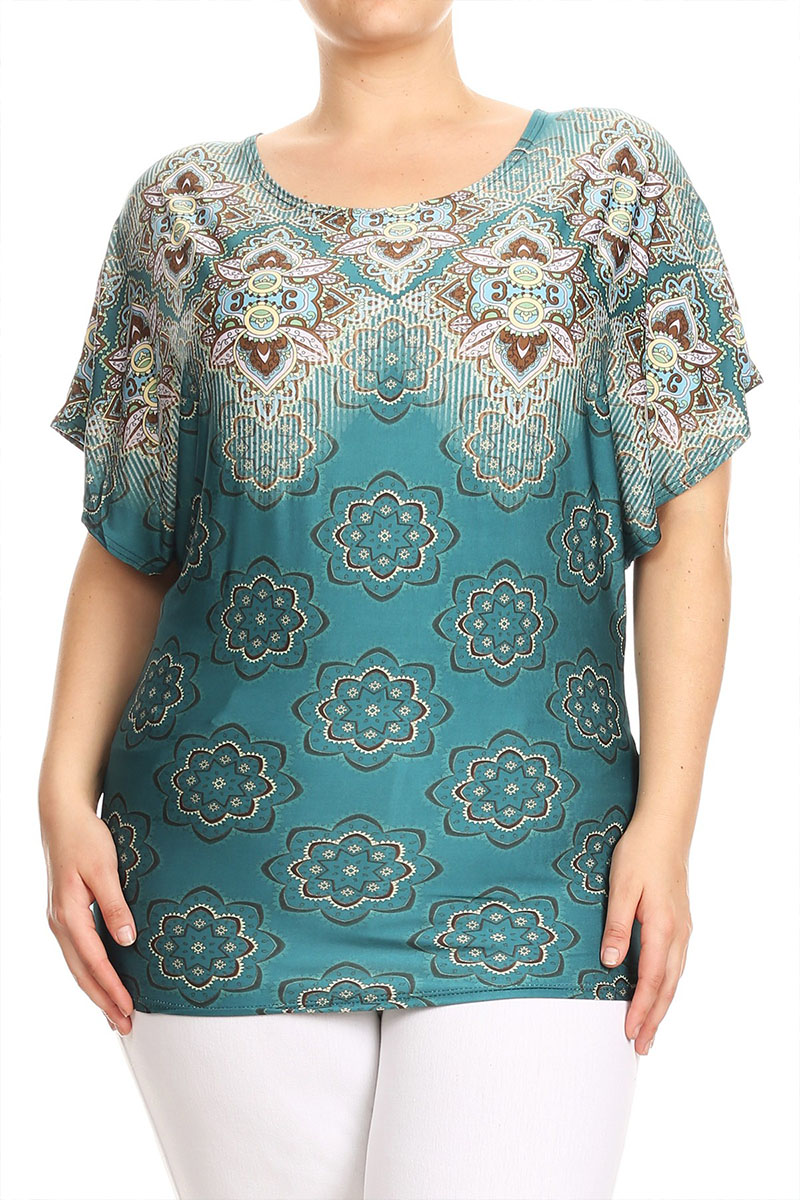 Women's Trendy Style Plus Size Mixed Print Top