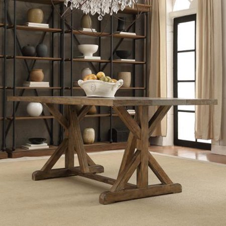 TRIBECCA HOME Benchwright Rustic Pine Trestle Reinforced Concrete