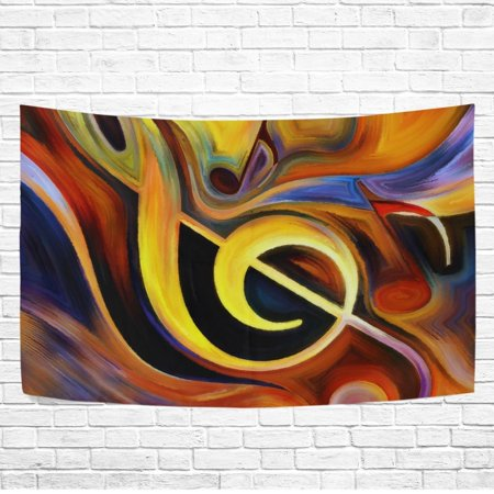 POPCreation Watercolor Music Note Abstract Wall Art Tapestry Bedroom Living Room Dorm Wall Hanging 40x60 inches