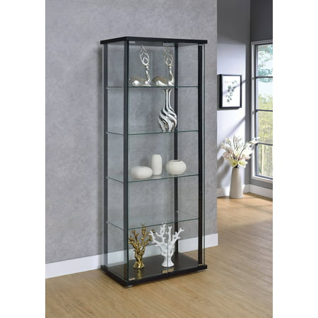 Coaster Company Curio Cabinet, Black and Glass ()