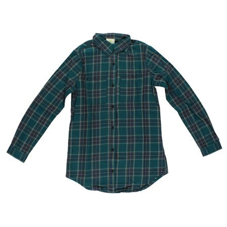 Adidas Mens Long Sleeve Flannel Button Down Green