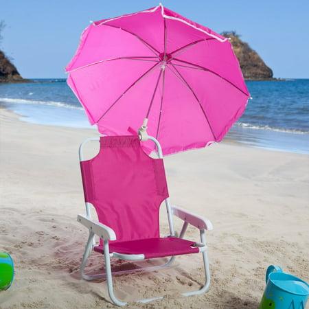 Kids Pink Beach Chair & Umbrella