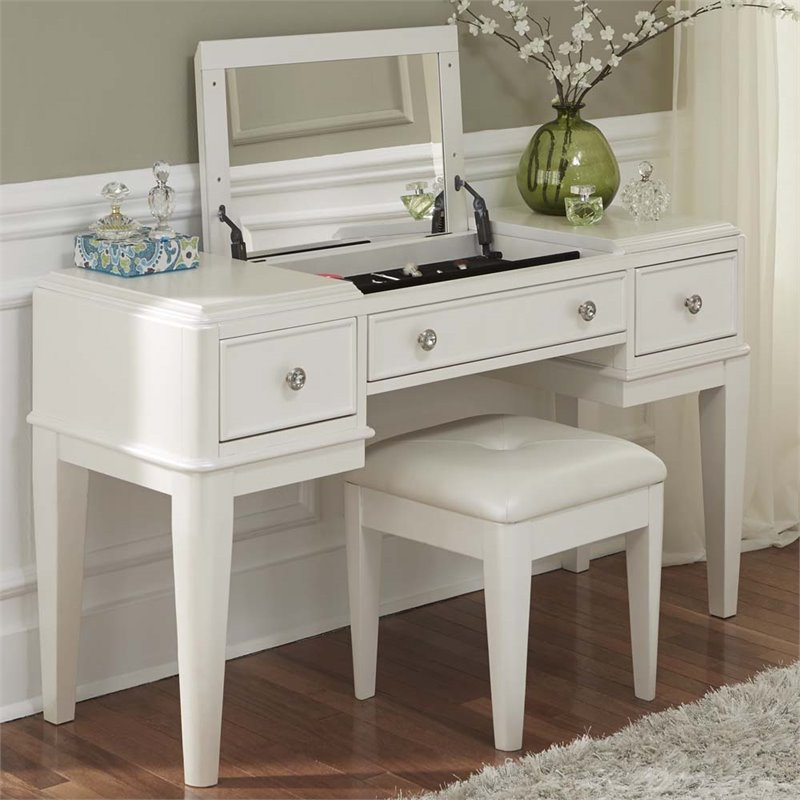 Liberty Furniture Stardust Bedroom Vanity in Iridescent White