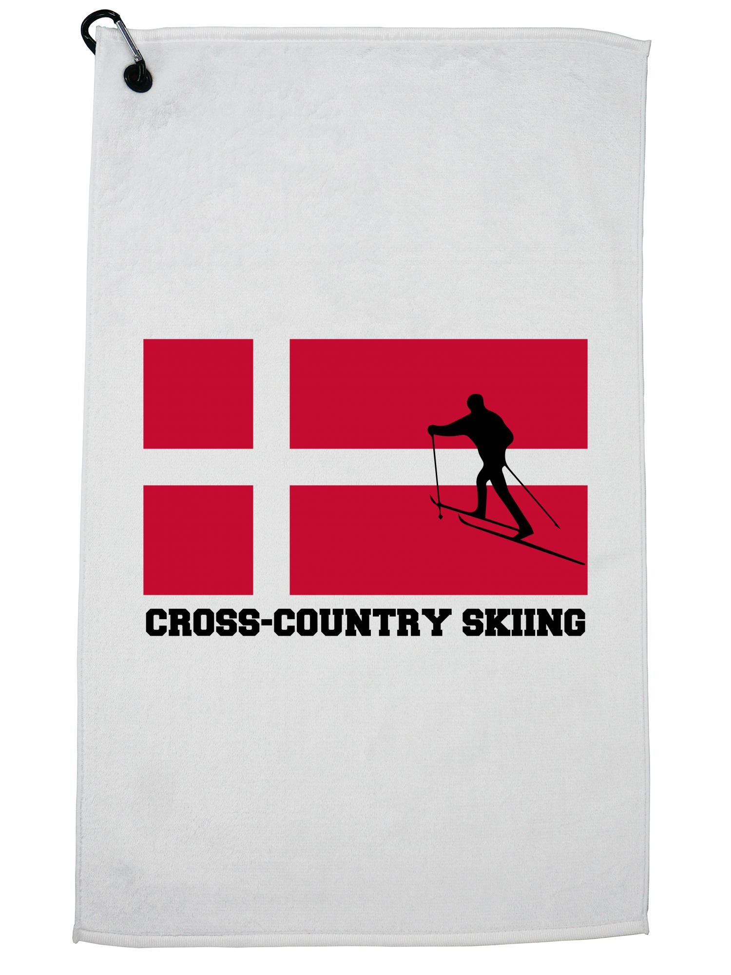 Denmark Olympic Cross-Country Skiing Flag Silhouette Golf Towel with Carabiner Clip by Hollywood Thread