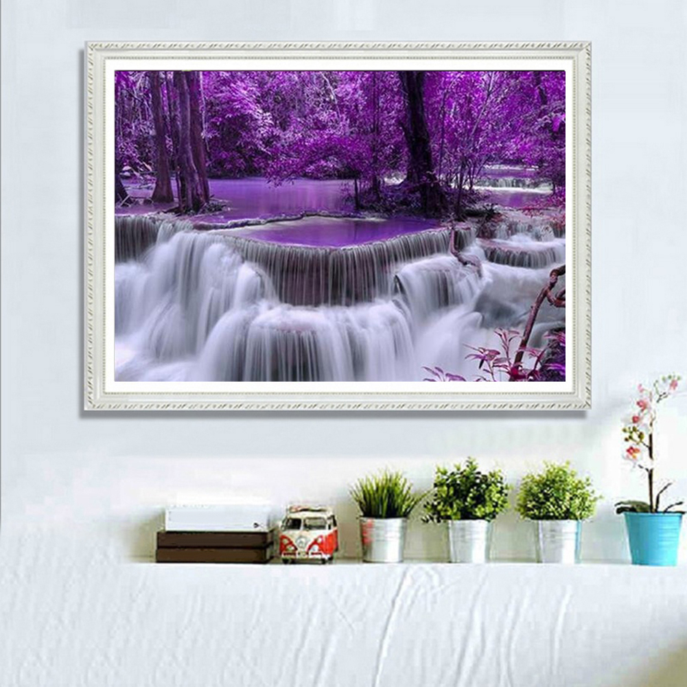 Girl12Queen Embroidery Waterfall Scenery Full Diamond Painting DIY Decor Cross Stitch Kit