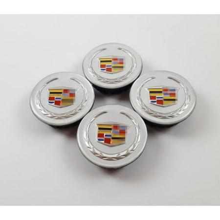 """4x 2.2"""" Cadillac Emblem ABS Silver Car Wheel Center Rim Hub Cap For ATS CTS DTS SRX"""
