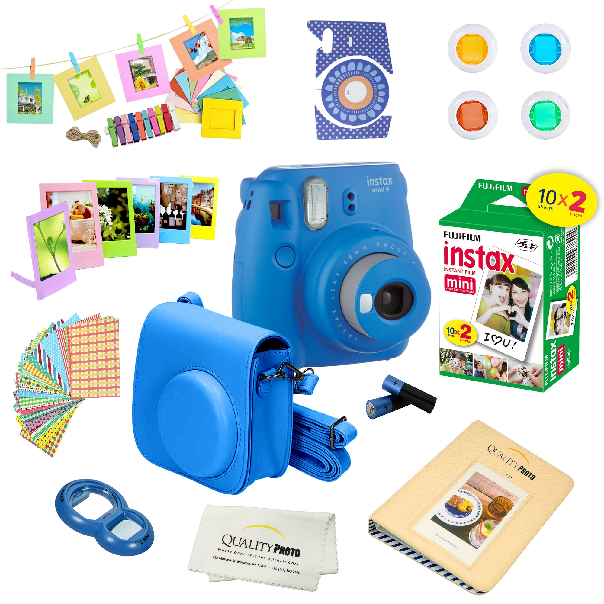 Fujifilm Instax Mini 9 Camera - Cobalt Blue + Fujifilm Instax mini 9 Instant Films 2-Pack = 20 Sheets + A 15 PC Massive Deluxe Accessory Kit Bundle for Fujifilm instax mini 9 Instant Camera