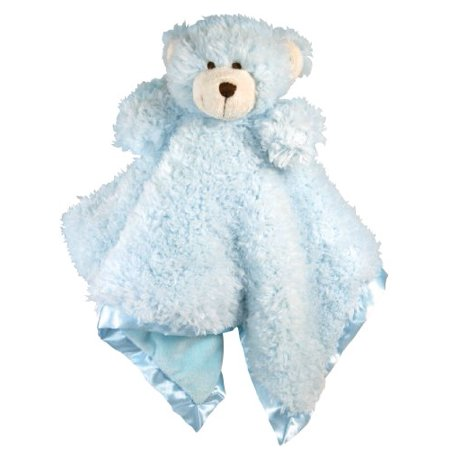 Stephan Baby Ultra Soft Cuddle Bud Blankie Bear, Blue Multi-Colored