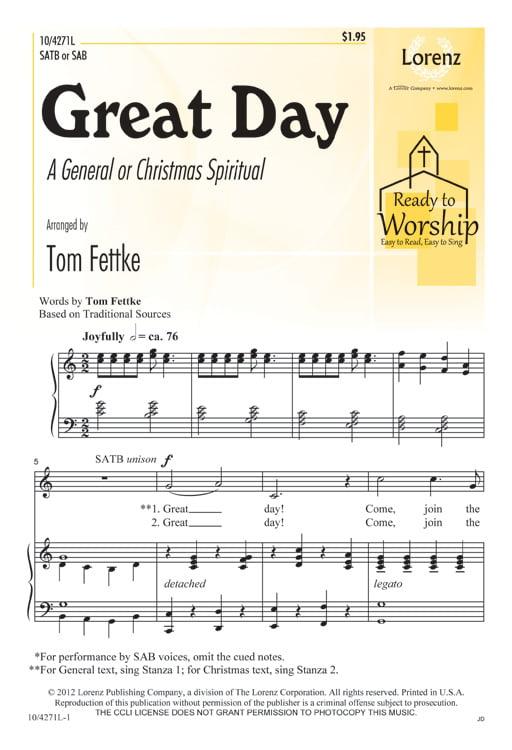 Great Day-Sac Anthem SATB SAB,Piano Ready to Worship Tom Fettke SHeet Music 104271L by