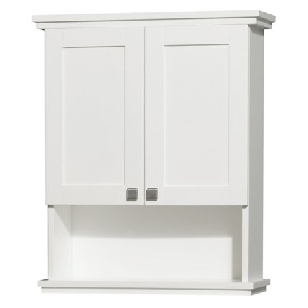 (Wyndham Collection Acclaim Solid Oak Bathroom Wall-Mounted Storage Cabinet, White)