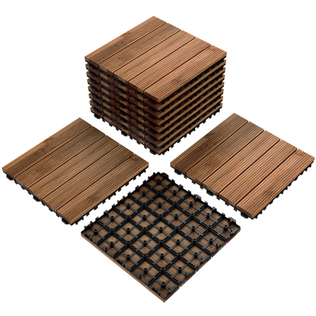 Yaheetech 12x 12''Patio Pavers Decking Flooring Deck Tiles Interlocking Wood Patio Tiles Pack of 11 Tiles For Patio Garden Deck Poolside Indoor and Outdoor,Indoor and Outdoor
