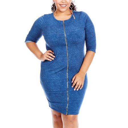 Womens Plus Size Curvy Comfort Front Zipper 3/4 Sleeves Denim Dress GKD4396-XL-Denim