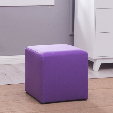 Belleze Cube Ottoman Fabric Small Square Stool Foot Rest