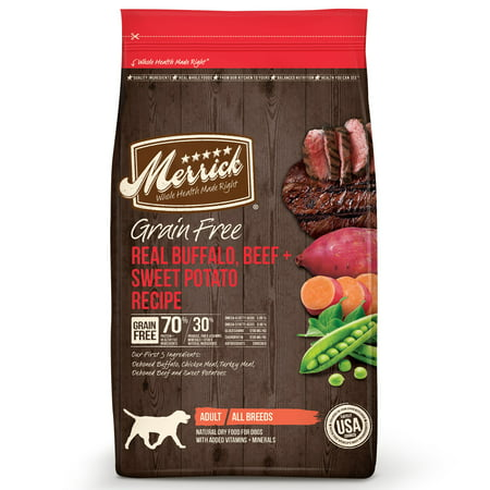 Merrick Grain-Free Real Buffalo, Beef & Sweet Potato Recipe Dry Dog Food, 22 (Merrick Beef)