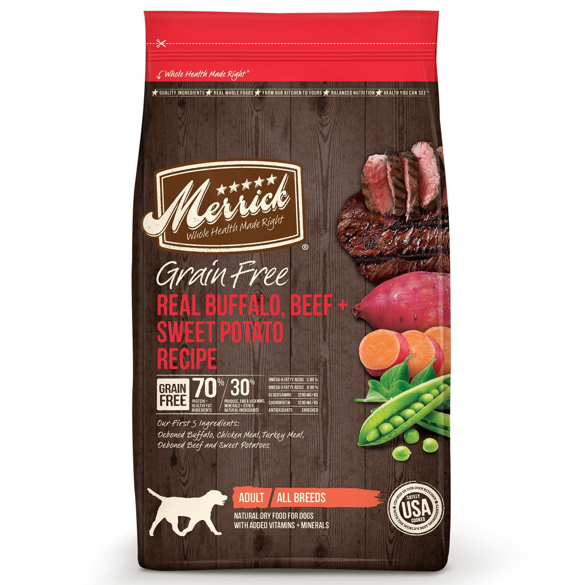 Merrick Grain-Free Real Buffalo, Beef & Sweet Potato Recipe Dry Dog Food, 22 Lb