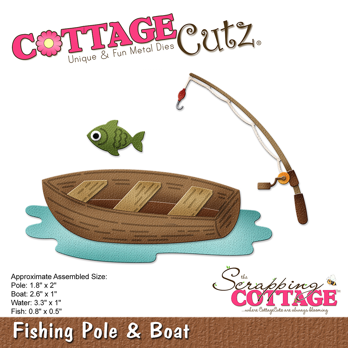 "CottageCutz Die-Fishing Pole & Boat .8"" To 3.3"""