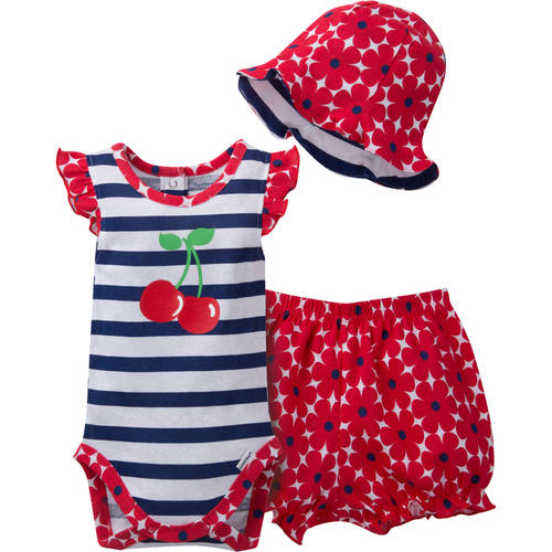 Gerber Newborn Baby Girl Bodysuit, Bloomer, & Hat Outfit Set, 3-Piece