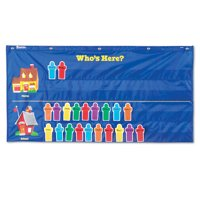 Learning Resources Attendance Pocket Chart, Classroom Organizer, Write and Wipe Cards, Blue