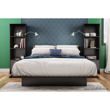 South Shore Basics Queen Platform Bed and 2 Bookcases/Media Storage, Multiple Finishes Cappuccino Finish Queen Bed