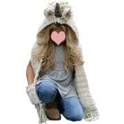 Girls Unicorn Hooded Scarf Animal Hoodie Winter Cowl Crochet Knitted Beanie Hat