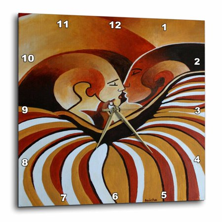 3dRose Touched By Africa African themed art of a man and woman kissing and in love, Wall Clock, 13 by 13-inch](Womens Cloak)