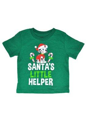 Paw Patrol Christmas T-Shirt Santa's Little Helper Green Marshall (Infant, Toddler)